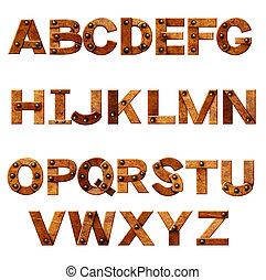 lettres, alphabet, -, métal, rouillé, rivets