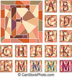 lettres, alphabet., mosaïque, capital