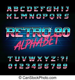 lettres, alphabet, oblique, effet, métallique, numbers., retro, font., 80, brillant