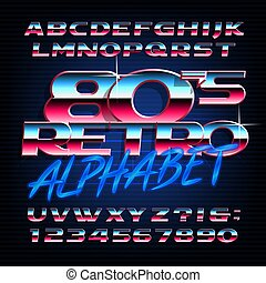 lettres, alphabet, oblique, effet, métallique, numbers., retro, font., 80s