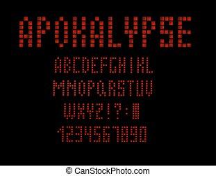 lettres, alphabet, oeil caractère, numbers., s, vecteur, conception, retro, font., 80, apocalypse, type, ton