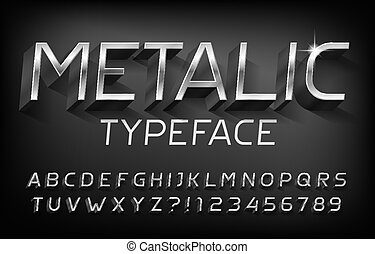 lettres, alphabet, shadow., nombres, métallique, 3d, effet, font., chrome