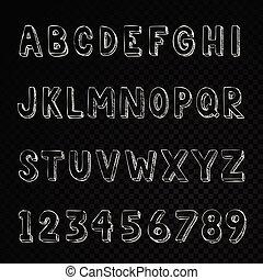 lettres, alphabet, typographie, main, nombres, dessiné