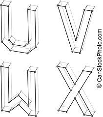 lettres, alphabet, wireframe, u, w, v, x, police