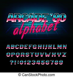 lettres, arcade, alphabet, oblique, effet, métallique, numbers., retro, font., 80, brillant