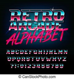 lettres, arcade, alphabet, oblique, effet, métallique, numbers., retro, font., brillant