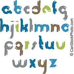 lettres, ba, isolé, vecteur, sale, blanc, coloré, main-peint
