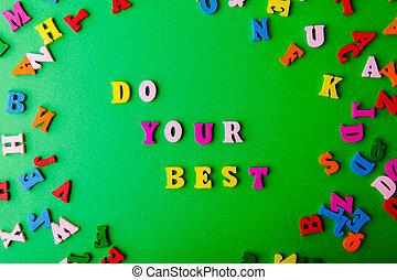 lettres, best., coloré, bois, dispersé, ton