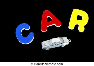 lettres, bois, voiture, noir, mot, modèle, orthographe, bloc, dehors