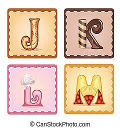 lettres, bonbons, j