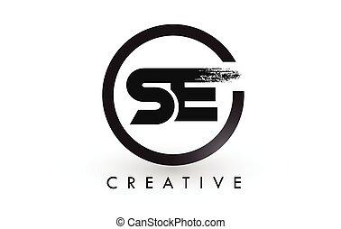 lettres, brossé, créatif, brosse, lettre, logo, design., logo., icône