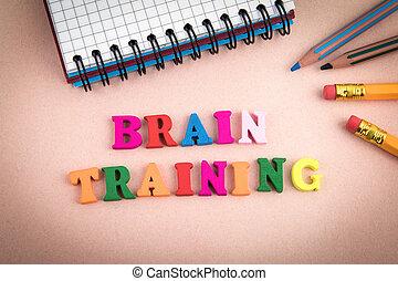 lettres, bureau, bois, cerveau, bureau, training.