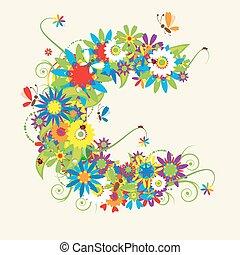 lettres, c, aussi, voir, lettre, floral, mon, galerie, design.