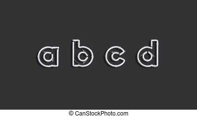 lettres, c, b, décoratif, d, police, néon, cassé, mockup