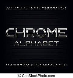 lettres, chrome, alphabet, effet, métallique, numbers., font.