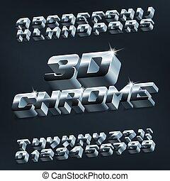 lettres, chrome, alphabet, métallique, nombres, font., shadow., 3d