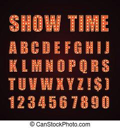 lettres, cinéma, exposition, néon, theather, lampe, vecteur, orange, police, ou