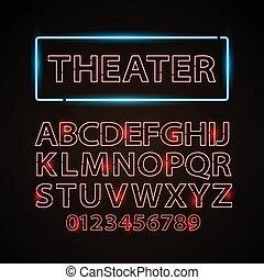 lettres, cinéma, exposition, néon, theather, lampe, vecteur, police, ou, rouges