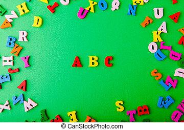 lettres, coloré, bois, abc., dispersé, anglaise