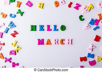 lettres, coloré, bois, march., dispersé, bonjour