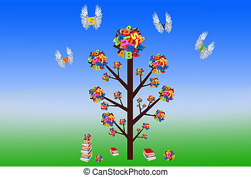 lettres, coloré, gradient, résumé, arbre, fond