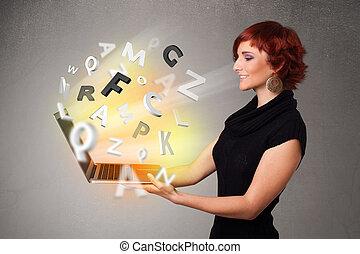 lettres, coloré, résumé, jeune, cahier, hoolding, dame