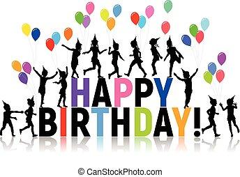 lettres, coloré, silhouettes, anniversaire, ballons, enfants, heureux
