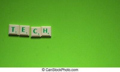 """lettres, créé, """"technology"""", arrière-plan vert, mot"""