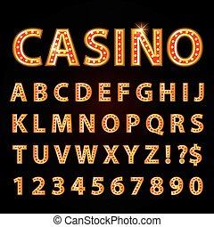 lettres, exposition, casino, néon, theather, lampe, vecteur, orange, police, ou