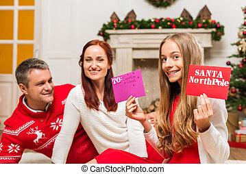 lettres, famille, santa