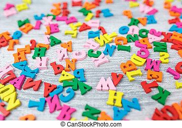 lettres, fond, bois, coloré, gris