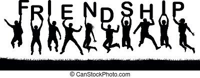 lettres, friendship., texte, gens, leur, vecteur, mot, sauter, silhouette, prise, hands., heureux