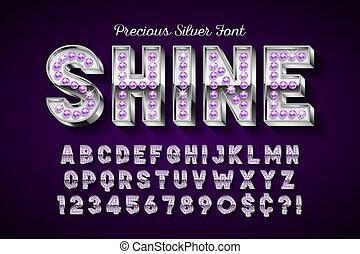 lettres, gemmes, or, numbers., police, argent, 3d