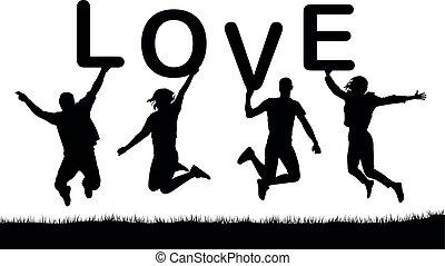 lettres, gens, mot, love., leur, vecteur, sauter, silhouette, tenir mains, heureux