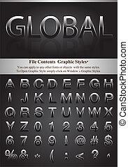 lettres, graphique, style
