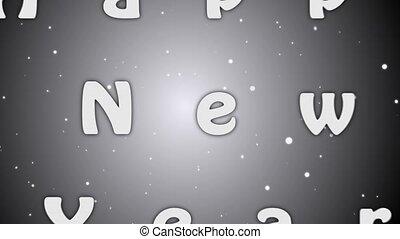 lettres, gris, nouveau, arrière-plan animation, année, 2019, blanc, heureux