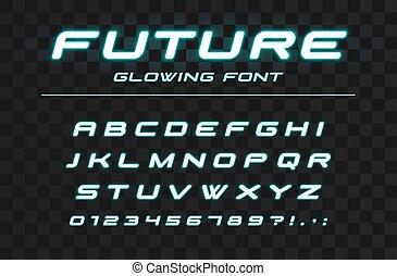 lettres, incandescent, vitesse, néon, nombres, alphabet., sport, industriel, conception, avenir, élevé, logo, jeûne, high-tech, font., futuriste, technologie