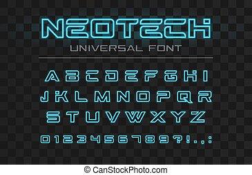 lettres, industriel, élevé, logo, font., techno, conception, vitesse, alphabet., avenir, high-tech, technologie, incandescent, néon, nombres, sport, technologie, jeûne, futuriste