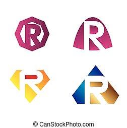lettres, inhabituel, vecteur, r, ensemble