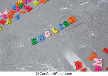 lettres, inscription, anglaise, coloré, bois