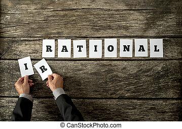 lettres, irrationnel, prendre, ir, spelled, aérien, mains, cartes, mot, blanc mâle, loin, vue