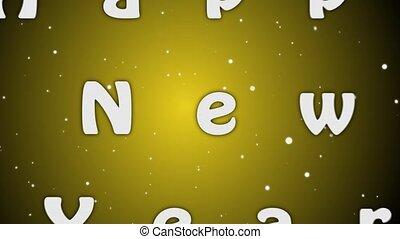lettres, jaune, arrière-plan animation, année, 2019, blanc, nouveau, heureux