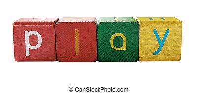 lettres, jeu, enfants, bloc