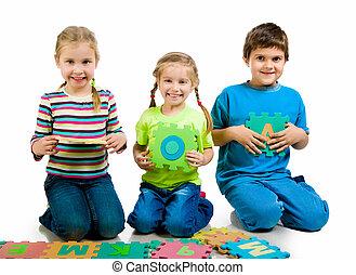 lettres, jouer, enfants