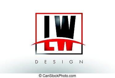 lettres, l, lw, couleurs, noir, w, logo, swoosh., rouges