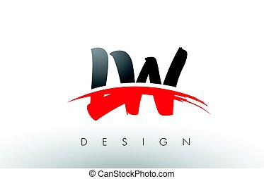 lettres, l, lw, noir, brosse, w, swoosh, devant, logo, rouges