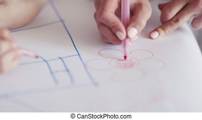 lettres, main, papier, enfant, blanc, écriture