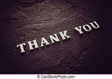 lettres, mot, noir, bois, remercier, fond, vous