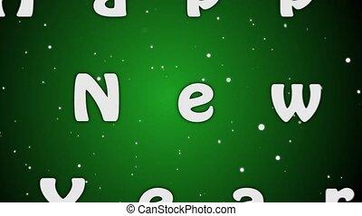 lettres, nouveau, animation, arrière-plan vert, année, 2019, blanc, heureux