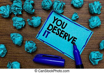 lettres, photo, papier, fait, quelque chose, marqueur, reconnaissance, bleu, deserve, écriture, écrit, conceptuel, vous, it., business, projection, récompense, main, puits, lumps., showcasing, récompense, page